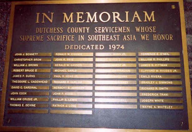 Dutchess County Memoriam Plaque, 1974