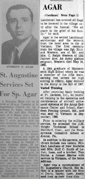 SP4 Anthony P. Agar's obituary