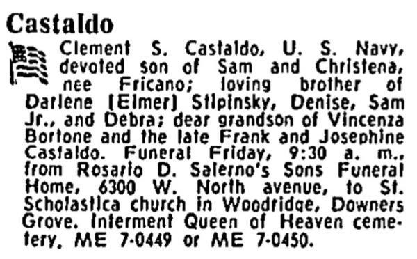 ENFN Clement S. Castaldo' death notice
