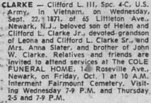 SP4 Clifford L. Clarke III's obituary